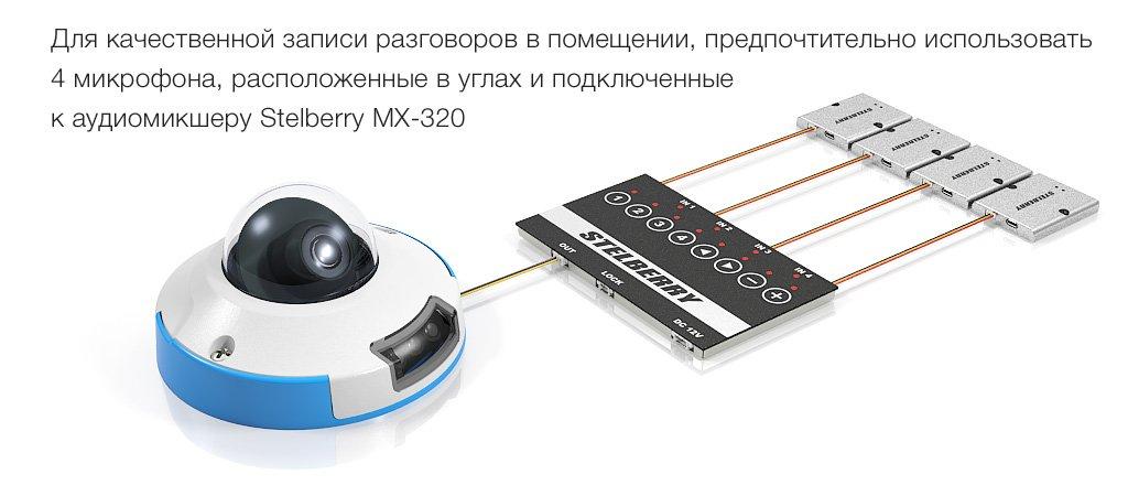для записи разговоров в помещении необходимо применять 4 микрофона, подключенных к аудиомикшеру