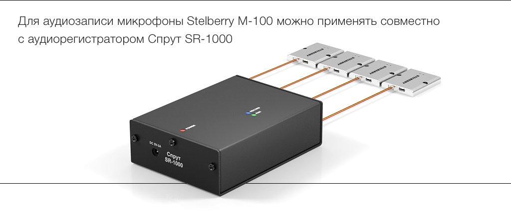 Микрофон STELBERRY M-100 совместим с любыми с аудиорегистраторами, имеющими стандартный линейный аудиовход