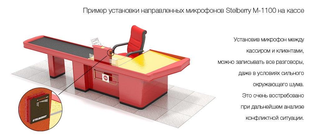 Пример установки направленного микрофона STELBERRY M-1100 на кассе
