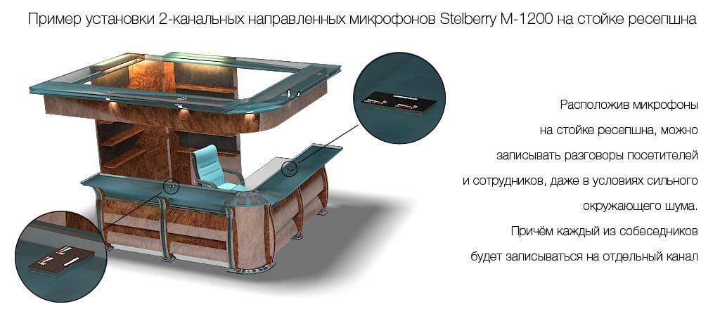 Пример установки направленного микрофона STELBERRY M-1200