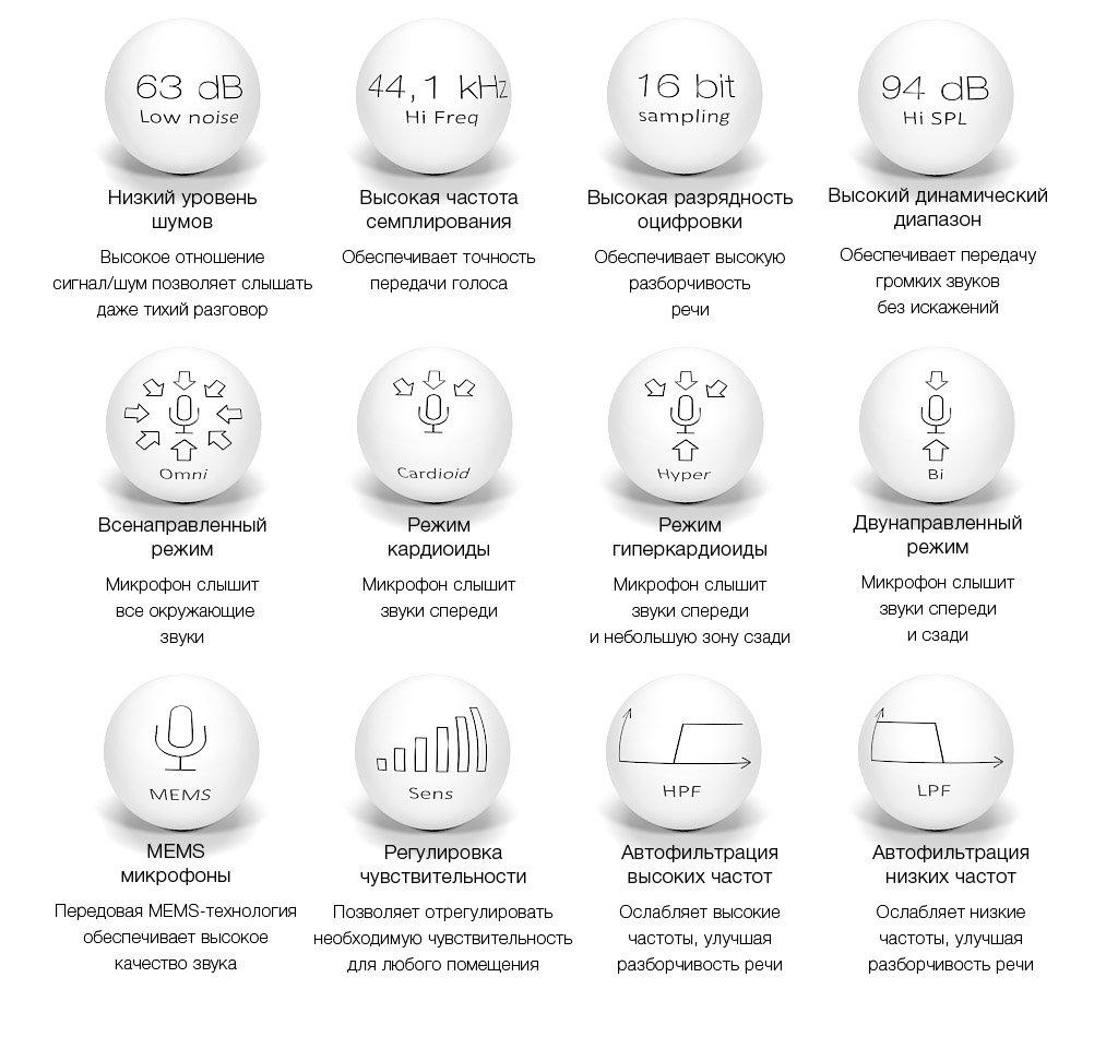 Возможности направленного микрофона для распознавания речи с шумоподавлением и выбором диаграммы направленности для записи разговоров и систем речевой аналитики