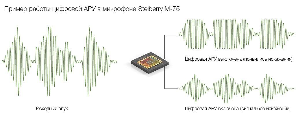 Только цифровая автоматическая регулировка усиления (АРУ) гарантирует отсутствие искажений в аудиосигнале микрофона