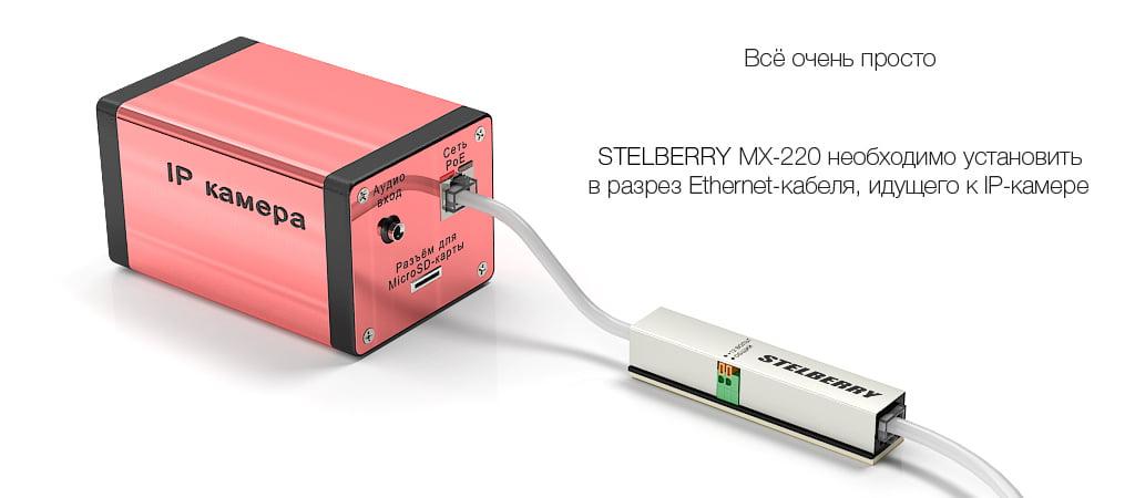 Подключение STELBERRY MX-220 к PoE IP-камеры для питания микрофона