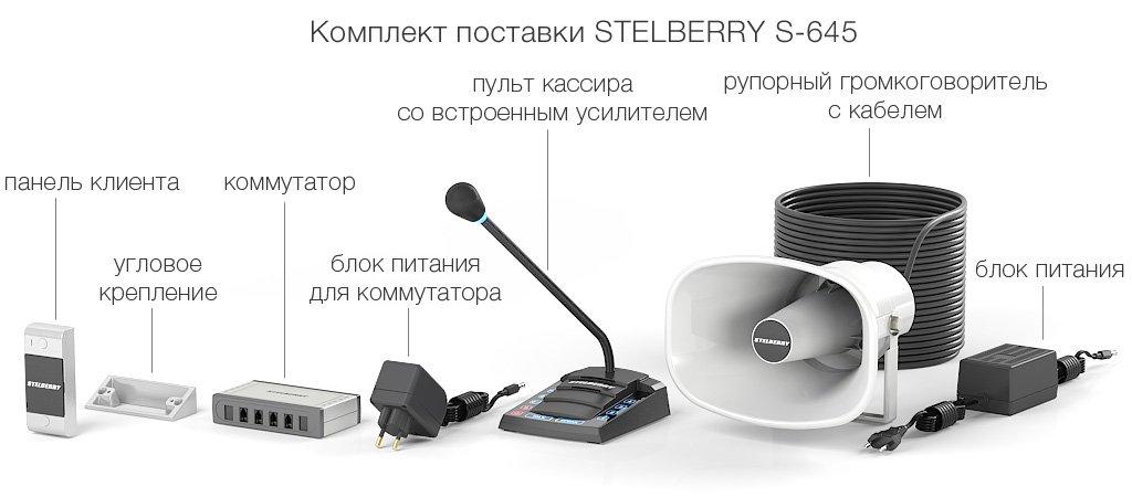 комплект поставки многоканального переговорного устройства клиент-кассир для АЗС с системой громкого оповещения
